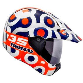 Capacete Bieffe 3 Sport T Branco Azul Motocross Cross Trilha