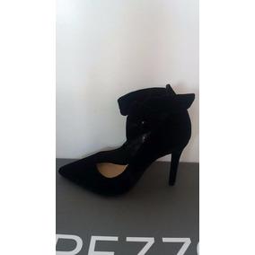Sapato Scarpin Feminino Arezzo Salto Fino Couro Veludo Preto