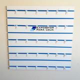 Painel Canaletado Mdf 91x91cm Can Azul + 30 Gancho Bran 15cm