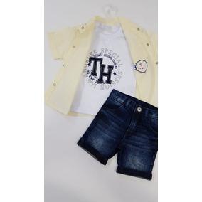 Conjunto Camisa Tricoline Bermuda Jeans Regata 3 Pçs Tam 02 741c4eb7a8a