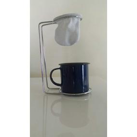 Mini Coador De Café+suporte Metal+xícara + 1 Refil De Coador