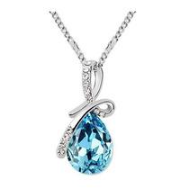 Colar Feminino Prata Folheado Linda Pedra Azul Crystal Angel