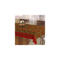 Toalha De Mesa Natal Retangular 1,40mx2,10m Floral Vermelho