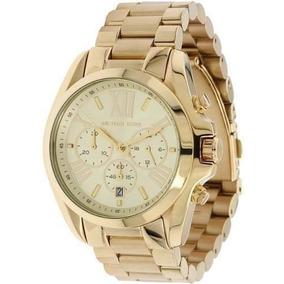 Relógio Luxo Mk5605 Dourado Romano Lindo Novo Ref07