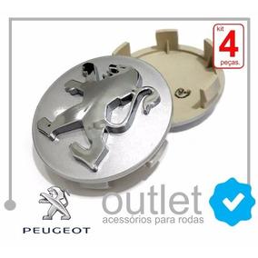 4 Calotinhas Roda Peugeot 206, 207, 307, 407, 408 Prata 60mm