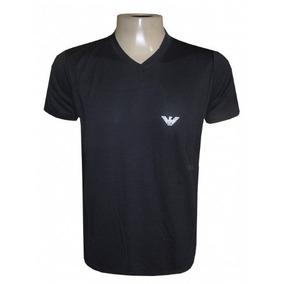 Camisa Empório Armani Preta Elastano Gola V