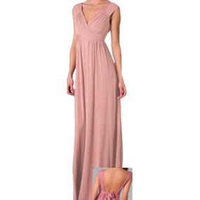 Vestido Longo Franzido Ombro Decote Costas Busto Em V Vl54