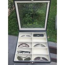 Maleta Caixa Porta Estojo Para 10 Óculos Em Couro Sintético.