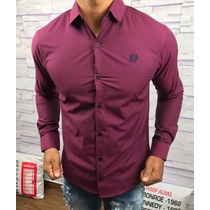 Camisa Social Slim Fit Fred Perry Masculino Vinho
