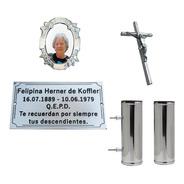 Placa + Foto + Floreros. Para Cementerio, Nicho, Lapida.