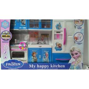 Kit Cozinha Infantil Frozen Com Luz E Som Anna E Elsa