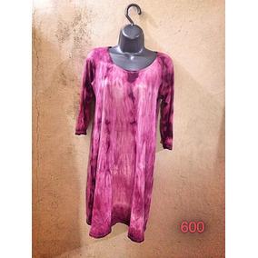 Vestido Tíl Dye Manga 3/4 Midi Rosa Viscolycra G