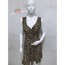 Luli Shop Vestido Feminino Decote V Com Estampa Onça