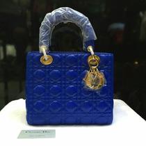 Bolsa Cristian Dior Azul Metais Dourados Frete Gratis
