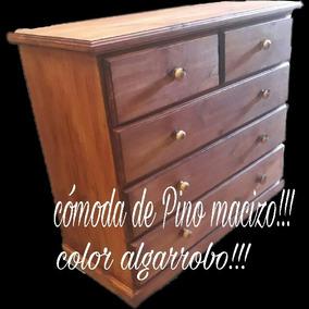 Cómoda Color Algarrobo De Pino Macizo