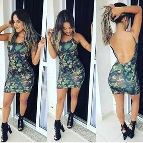 Vestido Justo Curto Camuflado Exercito Militar