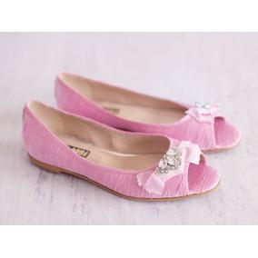 Chatitas Raso Rosa Aplique Cristal Swarovski Pink Zapatos
