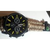 Reloj Táctico Militar - Amarillo- Kit Brujula- Cuerda- Silba