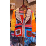 Saco Sandra Tejido A Dos Agujas Y Crochet