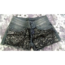 Short Jeans Curto Fem Tam 36 Com Frente De Paêtes
