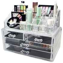 Porta Maquiagem Pincel Batom Acrílico Organizador 4 Gavetas