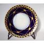 Plato De Taza Te Porcelana Europea Azul Cobalto Oro