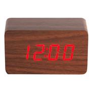 Relógio De Mesa Digital Tipo Madeira Tamanho P