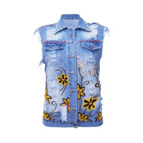 Colete Jeans Feminino Bordado Flores Sck