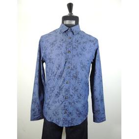 Camisa Color Azul Estampado Manga Larga Caballero Chevignon