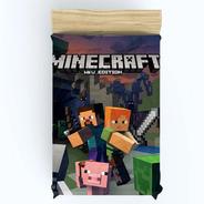 Colcha Infantil Minecraft Meninos E Meninas + Fronha - 2,10m