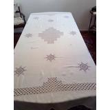 Mantel De Hilo Con Puntilla Y Bordados 230x150
