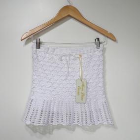 Saia Crochê Branca Com Babado Com Forro Maria Dione Crochês