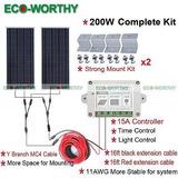 Eco 200w De Rejilla Sistema 2 * 100w Kit De Panel Solar Y