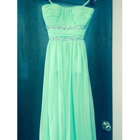 Vestido Largo Color Verde Menta, Shifon, Pedreria Bordada