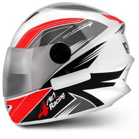 Capacete Fechado Pro Tork 4 Racing Cinza Vm Viseira Cromada