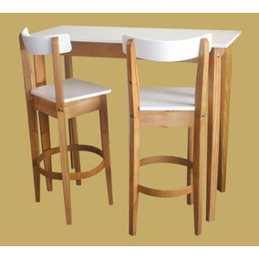 mesa barra desayunador laqueado mas banquetas altas
