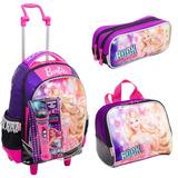 Kit Mochila Barbie Rockn Royals Roxa Rodinha Sestini Microfo