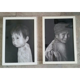 Set De 2 Hermosos Cuadros A Carboncillo - Artista Tailandes