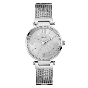 Guess U0638l1 Sofisticado Reloj Plateado Con Pulsera Ajusta.