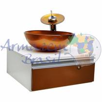 Gabinete Banheiro Dourado - Cuba De Vidro Torneira Valvula