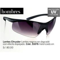 Hermosos Lentes De Sol Negros Hombre Chrysler Esika Uv 400