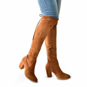Botas Largas Mujer Tacon 8 Altas Abajo Rodilla 58cm Cintas