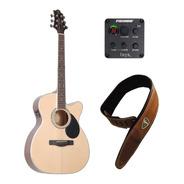 Guitarra Electro Acustica Samick Gom100rsc Maciza Eq Fishman