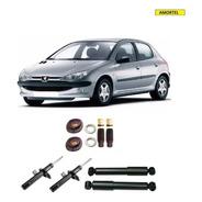 4 Amortecedores + Kits Batentes Da Peugeot 206 Ano 99/09