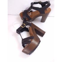 Zapatillas Color Negro, Cruzadas, Moda Tacón 13cm Piel