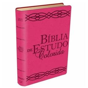 Bíblia De Estudo Colorida Letra Grande Rosa