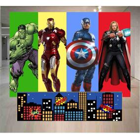 Frente De Mesa + Painel Lona Fosca Vingadores Vg 21- 2x1,50