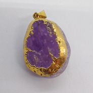 Dije Piedra Cuarzo Cristal Y Amatista