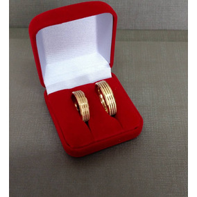 Par Alianças Noivado Casamento Compromisso Banhada Ouro 18k