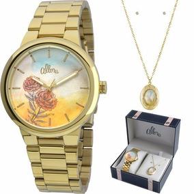 Relógio Allora Feminino Dourado Al2035fbj/k4l Colar + Brinco